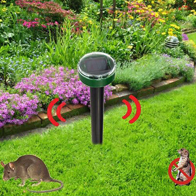 Solar Powered Sonic Outdoor Ground Rodent Mole Mice Mouse Rat Repeller Durable
