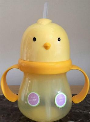 Sippy Cup Chick duck Top Straw Handles Toddler Kids Baby BPA Free Dishwasher NEW