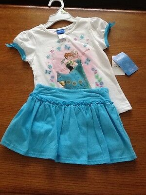 New Girl Size 4 Frozen T-Shirt With Skirt/ Short Outfit