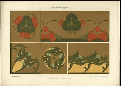 Floral Ceiling Decoration Beautiful c.1905-10 vintage color Art Nouveau print