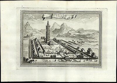 China Paolin Temple tall ornate tower topography 1748 rare old engraved print