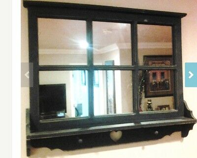 Shabby Chic Distressed 6 Panel Framed Mirror with Shelf and Pegs, and Heart Cuto