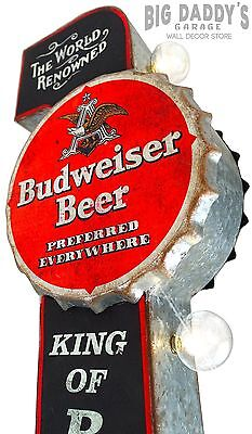 Budweiser Black and Red Double Sided Metal Sign W/ Large Marquee LED Light Bulbs