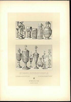 Europe 16th & 17th Century Exquisite Carved Vases c.1888 antique lovely print