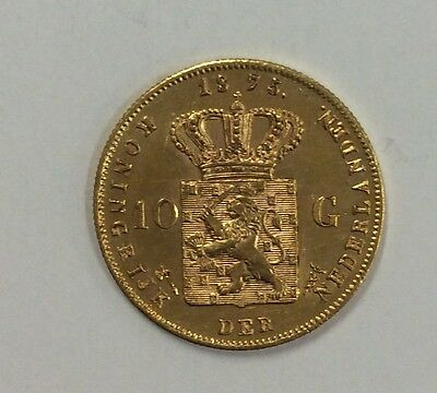 1875 Netherlands 10 guilder KM 105  6.73 grams .900 gold AGW .1947 unc