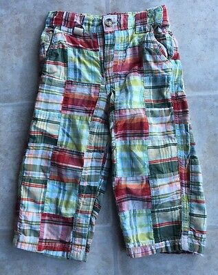 Toddler Boy 18-24 Months Baby Gap Pull On Plaid PatchworK Pants