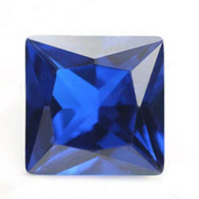 AAA Princess Cut Bright Blue Lab Created Sapphire Corundum Square 3x3mm-14x14mm