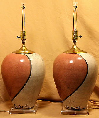 RARE *SIGNED/NUMBERED* Marc Ward Raku Crackle Pottery Lamps w/ Lucite Base