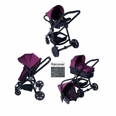 New Red Kite Push Me Fusion 3 In 1 Pram Pushchair Travel System Plum From Birth