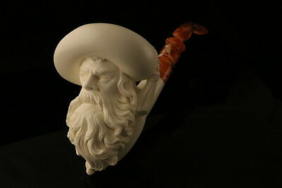 Cavalier Hand Carved Servi Meerschaum Pipe in a fitted CASE 7965