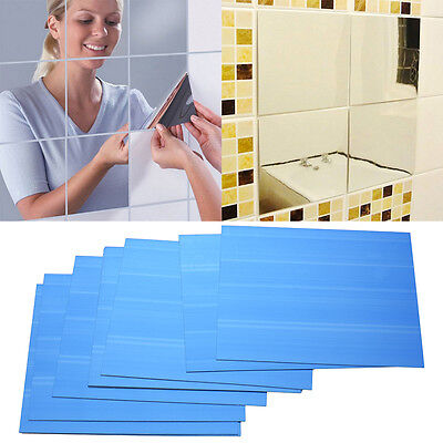 9Pcs Square Mirror Tile Wall Stickers 3D Decal Mosaic Home Living Room Decor