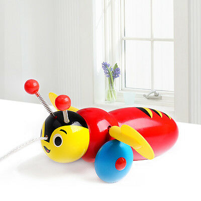 Buzzy Bee Wooden Pull Toy For Kids Children Toys Gift Wood