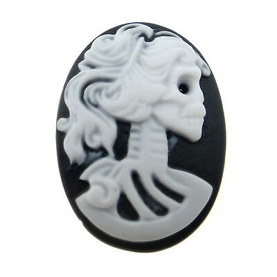 20 RESIN CABOCHONS Harz CAMEO 18x25 mm - LADY Sugar SKULL - p00105x7