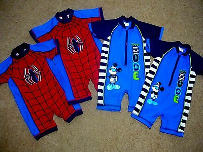 Baby Boys UV Sun Protective UPF40+ Swimsuit Spiderman Mickey Mouse 12-18-24 mths