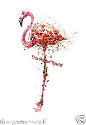 Set Of 2 Pink Flamingo Watercolour Image Picture Poster Wall Art Print New
