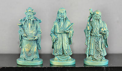 Three Nicely Made Chinese Fu Lu Shou Statues Made Of Composite Gift Boxed