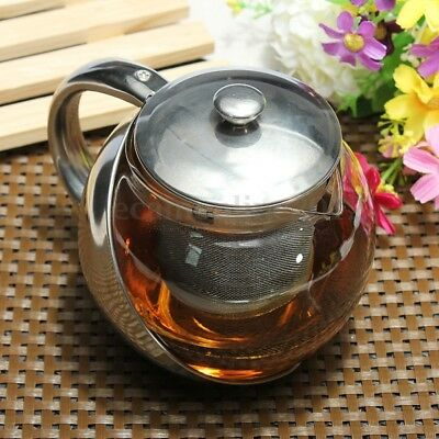 750-1100ml Stainless Steel Glass TeaPot with Loose Leaf Infuser Herbal Tea Pot