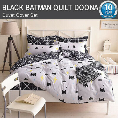 Batman Doona/Duvet/Quilt/Cover Set Queen/King/Single Size Black Bed Pillowcase