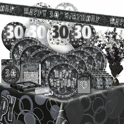 AGE 30 - Happy 30th Birthday BLACK & SILVER GLITZ -Party Range, Banners & Napkin