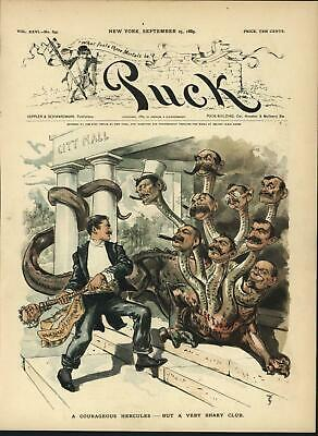 Election Corruption Hercules Hydra Bribery 1889 antique color lithograph print