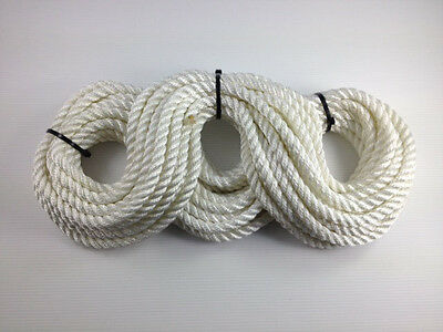 3 Strand White Polyester Rope 12mm x 30m Mooring Fender Rope Anchor Marine