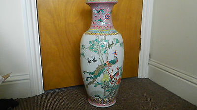 A Large Mid 20thC. Chinese famille-rose inverted baluster vase 62cm high.