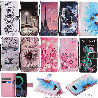 Wallet Foldable Case for Samsung Galaxy Phones PU Leather Cute Patterns Cover