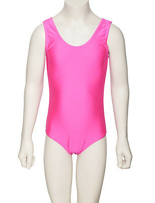 36ad02c81ad2a Girls Ladies Dance Sleeveless Shiny Lycra Leotard All Colours & Sizes KDC026