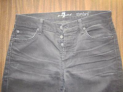 7 FOR ALL MANKIND STANDARD Button Fly Black Jeans Men's Size 32x33 Distressed