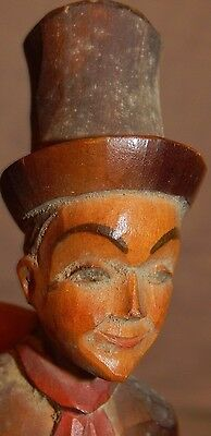 vintage carved wood doll top hat antique wooden treen  folk art men man