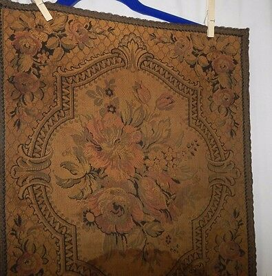 antique runner floral roses gold metal trim tapestry banquet table victorian