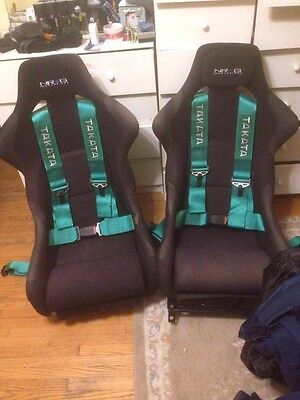 """Green 3"""" STRAP 4 POINT QUICK RELEASE RACING SEAT BELT HARNESS SPORT"""