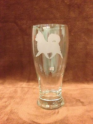 Chihuahua Long Coat Set of Two Pub Glasses. Engraved Etched Personalized