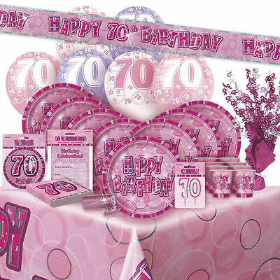 AGE 70 - Happy 70th Birthday PINK GLITZ - Party Range, Banners & Decorations