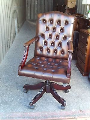 Leather office chair button back
