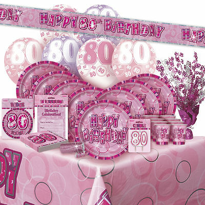 AGE 80 - Happy 80th Birthday PINK GLITZ - Party Range, Banners & Decorations