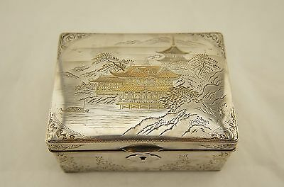 SIGNED large Meiji Japanese solid sterling silver Shakudo mixed metal lidded box