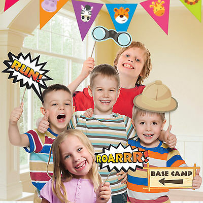 12 Piece Jungle Friends Animals Children's Party Handheld Photo Booth Props Set