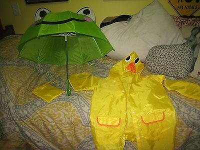 Size 5/6 Child's Duckie Raincoat and Geen Froggie Umbrella