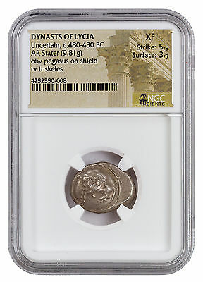 Uncertain Dynast of Lycia Silver Stater Pegasus Shield Triskeles NGC XF SKU43807