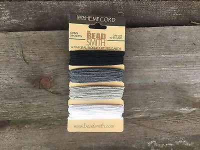 Beadsmith Onyx / mono 4 colour Hemp cord in 0.55mm (10lb) and 1mm (20lb)