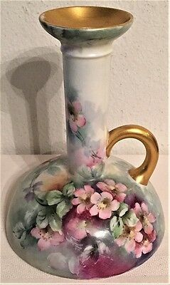 Antique Limoges France Hand Painted Floral Chamber Stick Candlestick 1891-1900