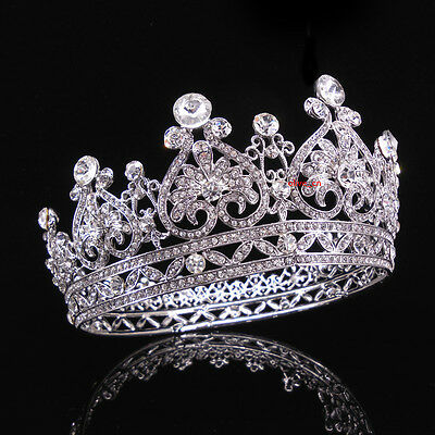 "7cm High Adult Round Crown Crystal Wedding Bridal Party Pageant Prom 5"" Wide"