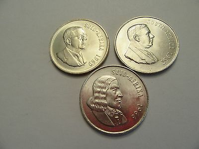 Lot of 3 South Africa Silver 1 Rand, 1 ea 1966, 1967, 1969, nice details
