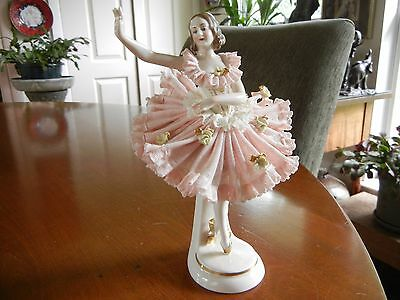 Vintage Dresden lace porcelain figurine Lady ballerina dancer German, mark
