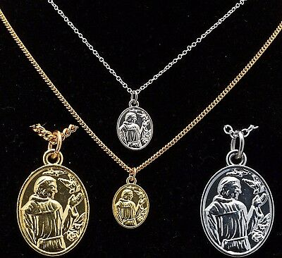 """20"""" Silver or Gold Plated Mens St Saint Francis Pendant Womens Necklace Chain"""