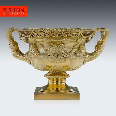 ANTIQUE 20thC EDWARDIAN SOLID SILVER-GILT WARWICK VASE, LONDON c.1908