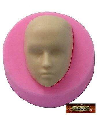 M00113 MOREZMORE Male Doll Head Face Man Boy Silicone Mold Clay Cake Soap A60