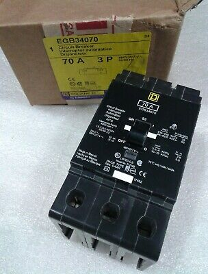 EGB34070 Square D SQD Type EGB Circuit Breaker 3 Pole 70 Amp 480V (New)