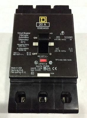 EGB34045 Square D SQD Type EGB Circuit Breaker 3 Pole 45 Amp 480V (New)